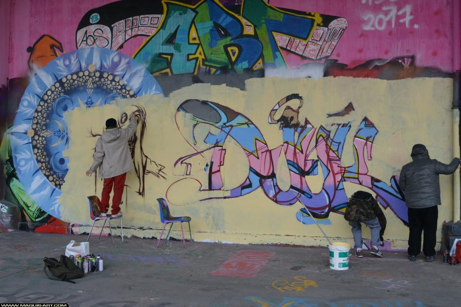 Photo de DJUK, PCK, HG, OPC, MCT, réalisée au Maquis-art Wall of fame - L'aérosol, Paris