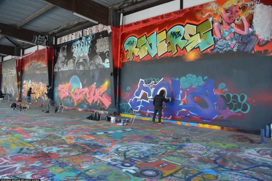 Photo de COLA, REKOR, SHANE, ODV, 2HS, QCK, P1K, réalisée au Maquis-art Wall of fame - L'aérosol, Paris