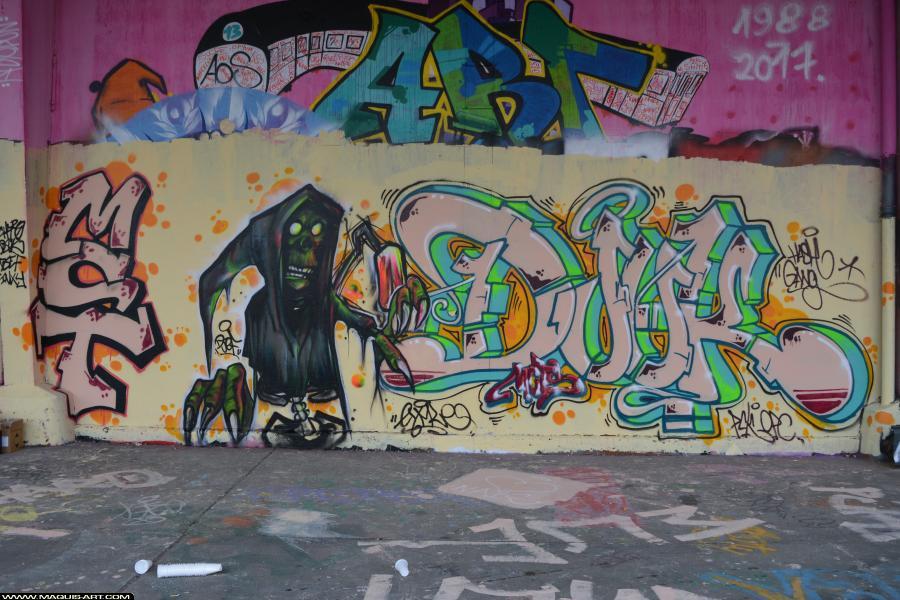 Photo de DJUK, MCT, PCK, OPC, HG, réalisée au Maquis-art Wall of fame - L'aérosol, Paris