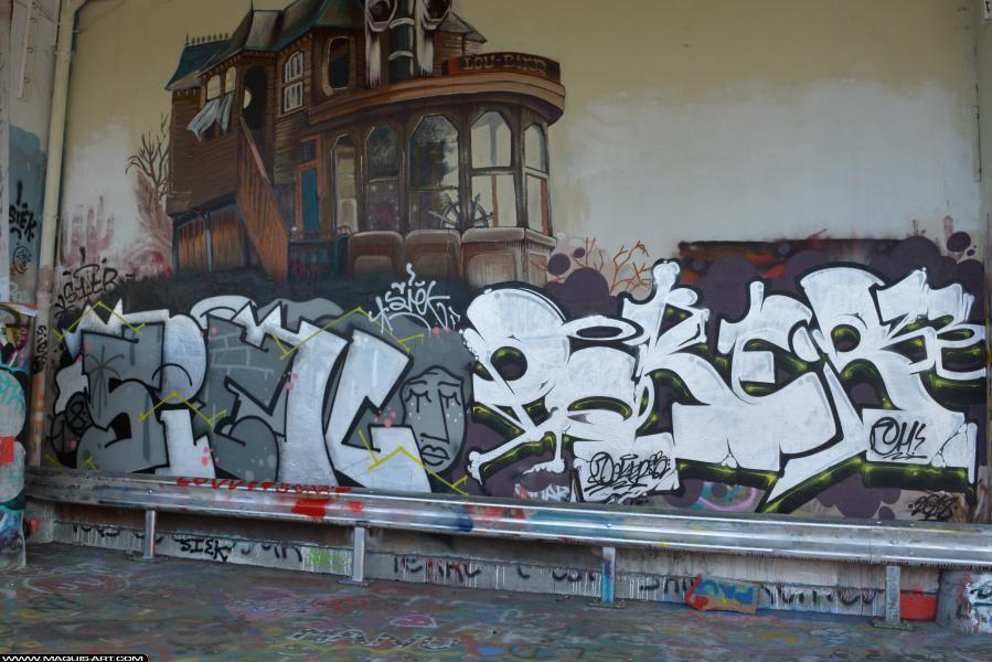 Photo de POKER, SIEK, S1TR, MSA, CH, APS, réalisée au Maquis-art Wall of fame - L'aérosol, Paris