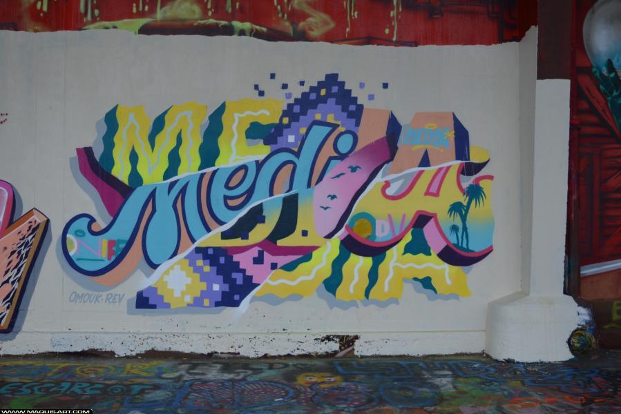 Photo de MEDIA, ODV, ONOFF, réalisée au Maquis-art Wall of fame - L'aérosol, Paris