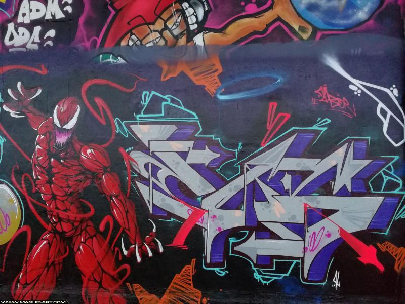 Photo de SINTEZ, BNC, CES, ZC, GABONE, réalisée au Maquis-art Wall of fame - L'aérosol, Paris