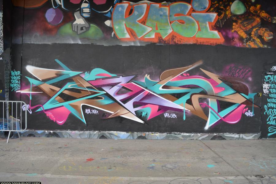 Photo de ZOYER, V13, GB, AOA, réalisée au Maquis-art Wall of fame - L'aérosol, Paris