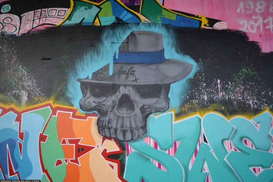 Photo de XANE, 3DT, CKT, OPC, 93MC, KBN, réalisée au Maquis-art Wall of fame - L'aérosol, Paris