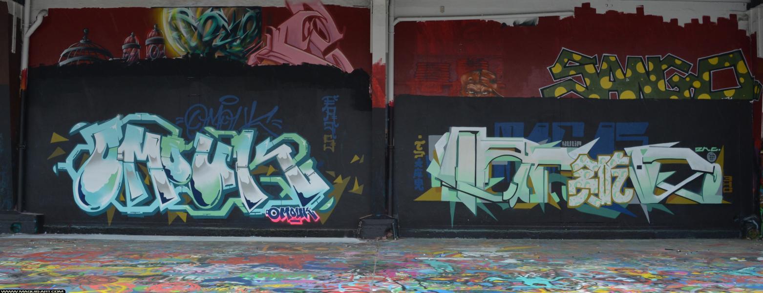 Photo de OMOUK, TACOS, SANGO, réalisée au Maquis-art Wall of fame - L'aérosol, Paris