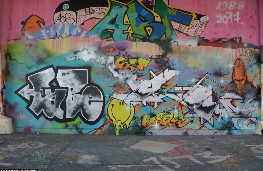 Photo de FABE, FUNC88, CKT, UB, réalisée au Maquis-art Wall of fame - L'aérosol, Paris