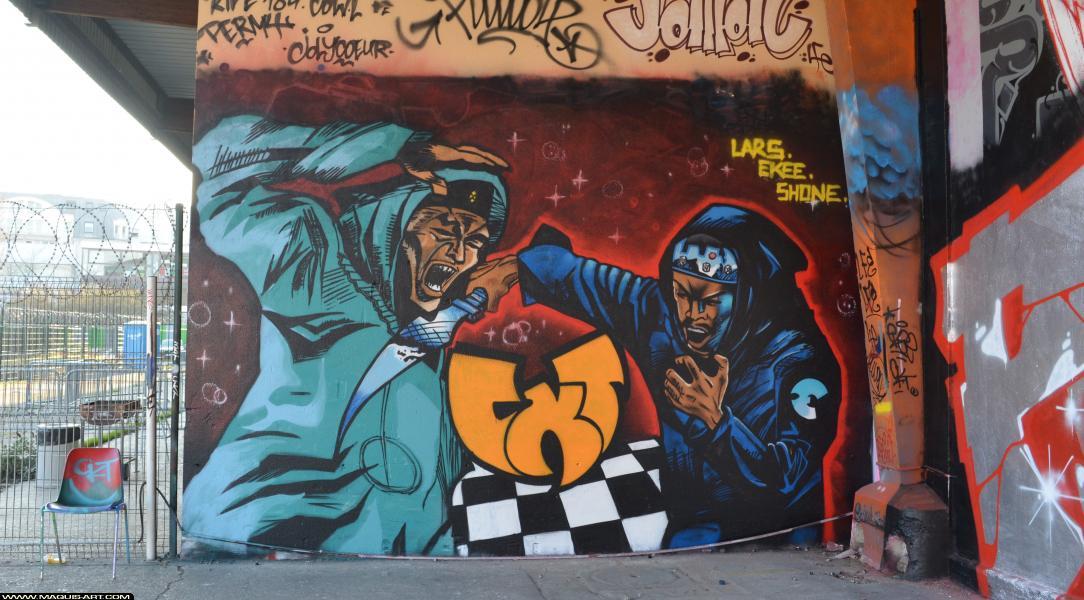 Photo de LARS, SHONE, EKEE, CKT, réalisée au Maquis-art Wall of fame - L'aérosol, Paris