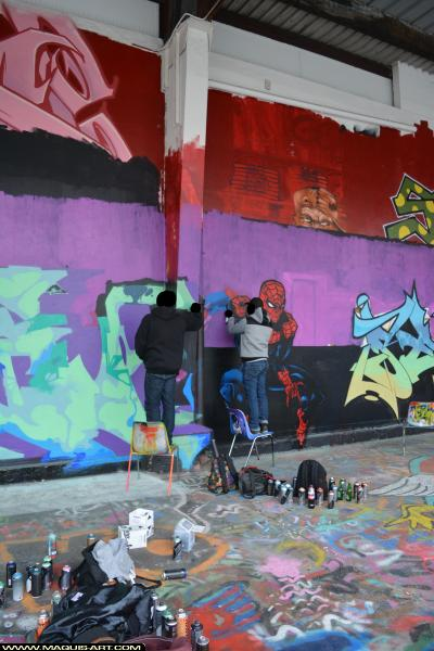 Photo de DIKSA, GABONE, BNC, RST88, CKT, CMP, GT, VMD, TNB, RST88, réalisée au Maquis-art Wall of fame - L'aérosol, Paris