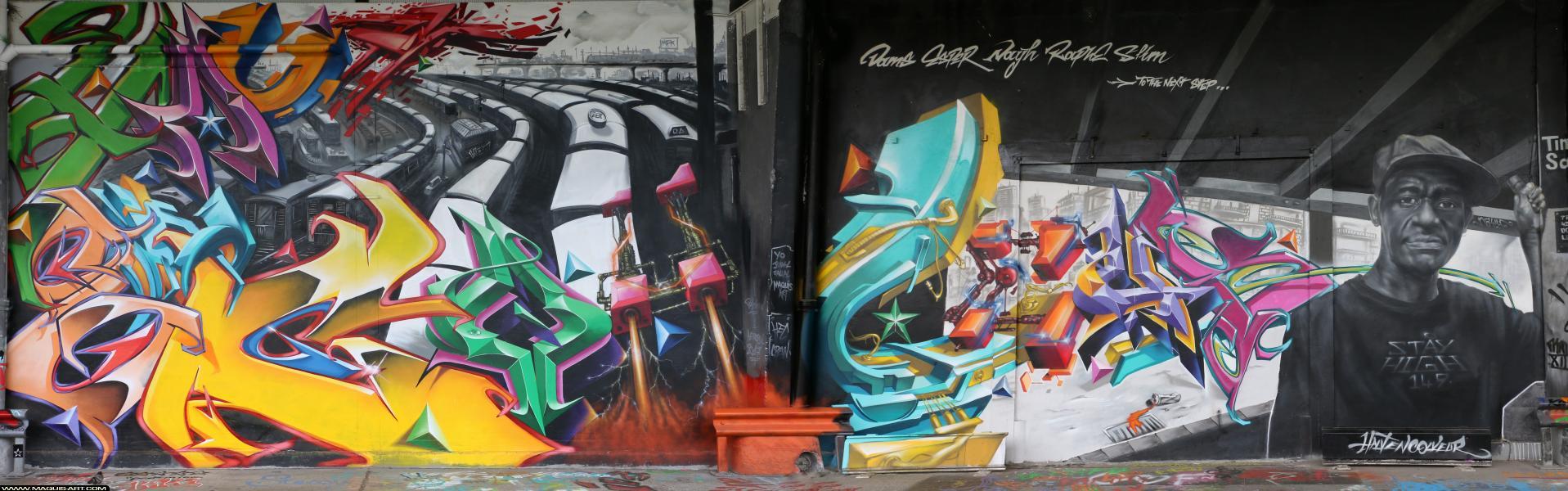 Photo de RAPHE, CALIGR, HEC, réalisée au Maquis-art Wall of fame - L'aérosol, Paris