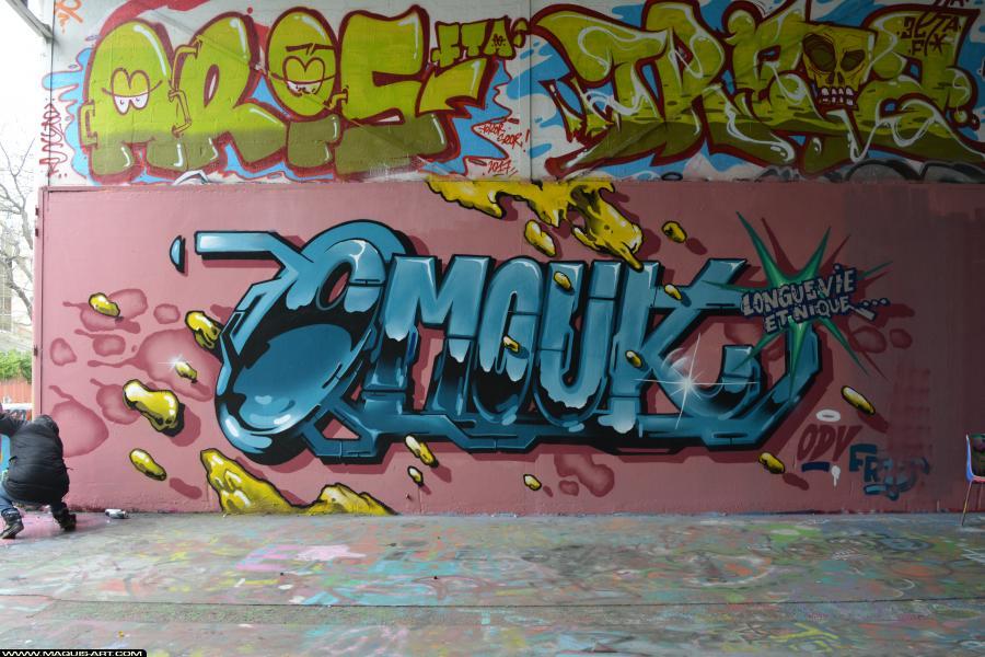 Photo de OMOUK, ODV, ARIS, TREIZE, réalisée au Maquis-art Wall of fame - L'aérosol, Paris