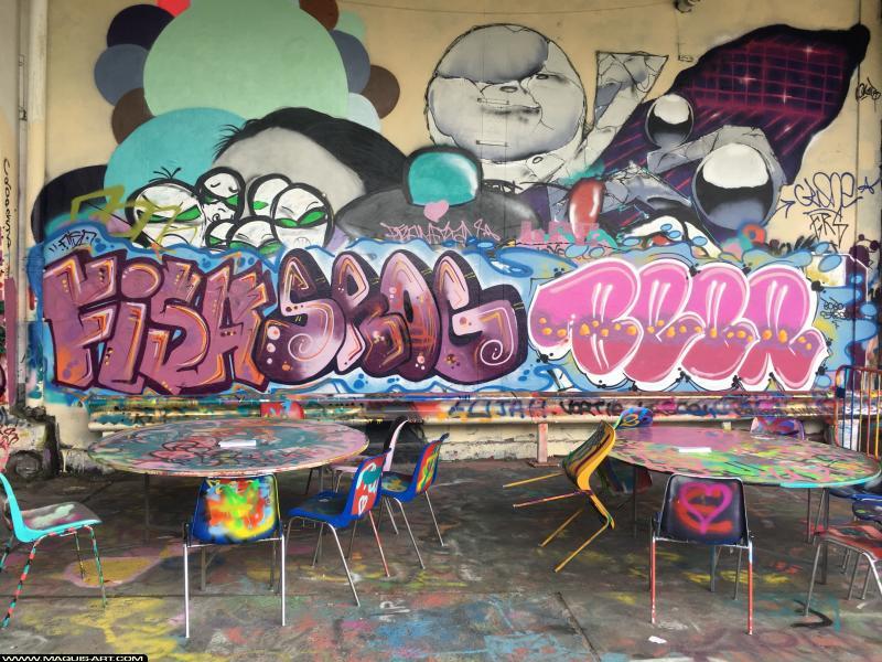 Photo de FYSA, BEER, SROG, réalisée au Maquis-art Wall of fame - L'aérosol, Paris