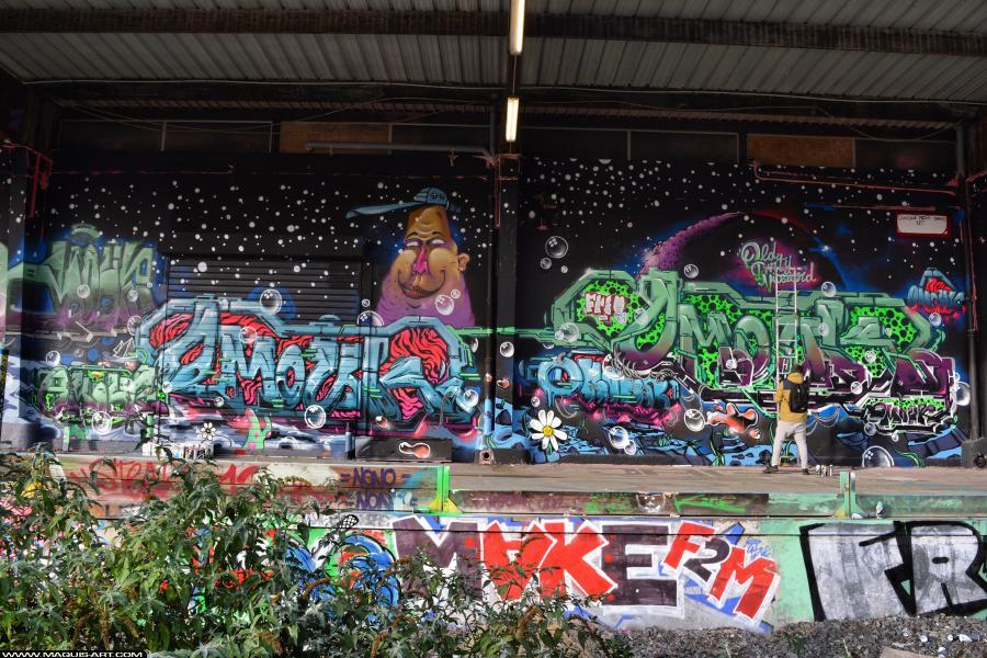 Photo de OMOUK, MAKE (F2M), F2M, réalisée au Maquis-art Wall of fame - L'aérosol, Paris
