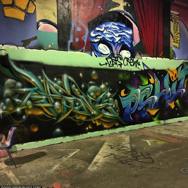 Photo de RAINS, PSHIT, réalisée au Maquis-art Wall of fame - L'aérosol, Paris