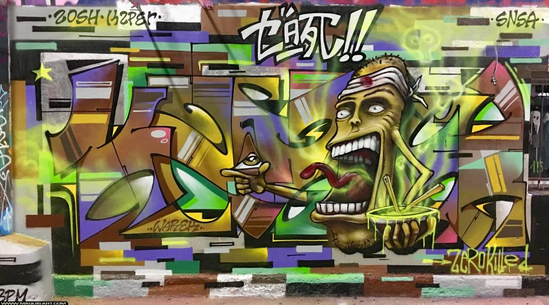 Photo de KZPER, ZOSH, SNSA, réalisée au Maquis-art Wall of fame - L'aérosol, Paris