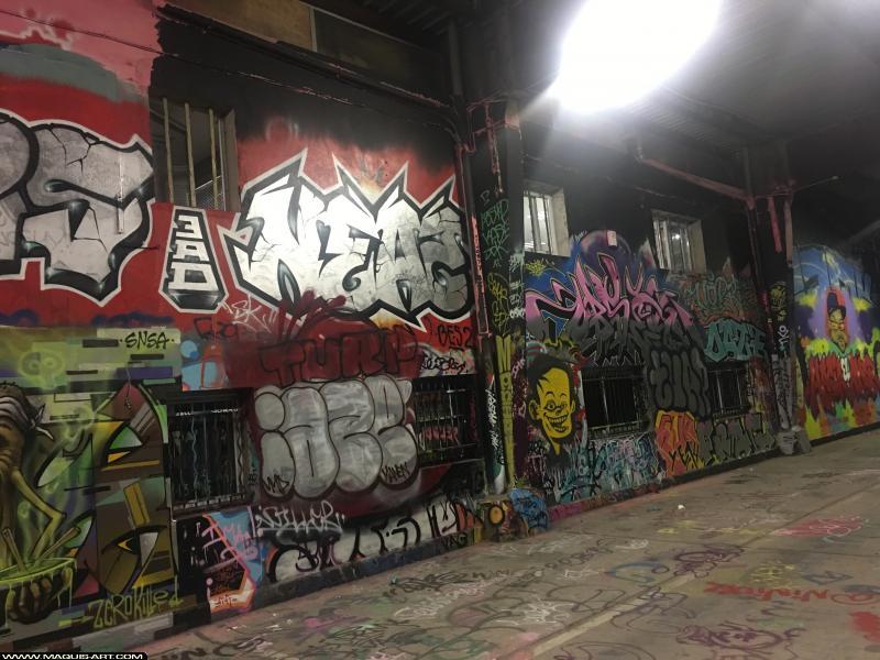 Photo de NEAZ (OTS), IAZE, TURP, FRAG, 3AD, réalisée au Maquis-art Wall of fame - L'aérosol, Paris