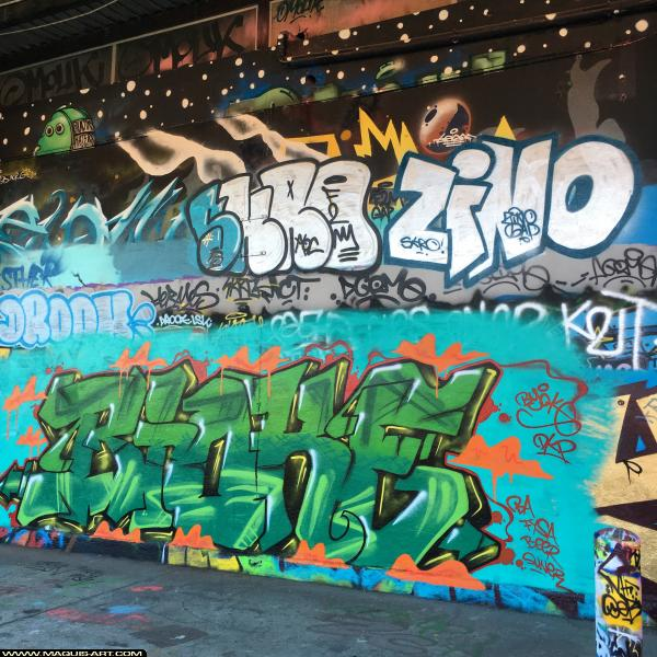 Photo de BIOKE, SKRO, ZINO, réalisée au Maquis-art Wall of fame - L'aérosol, Paris